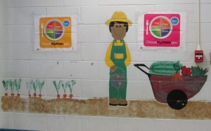 Farmer mural. MyPlate. Childhood eating