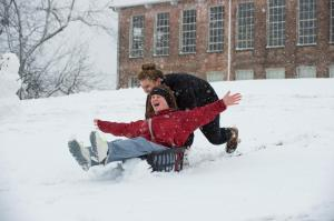 Making the most of the snow at MSU and getting plenty of good exercise! (photo by Russ Houston)
