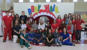 Student volunteers at Body Walk in New Albany.